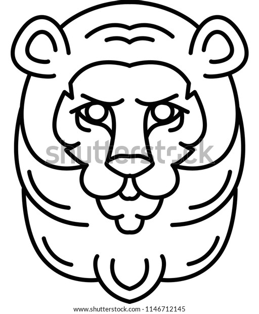 Lion Head Vector Outline Flat Simple Stock Vector Royalty Free 1146712145 Lion outline drawing major magdalene project org. https www shutterstock com image vector lion head vector outline flat simple 1146712145