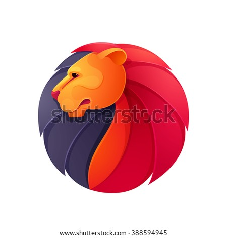 1dd887737f Lion head volume vector logo. Animal design template elements for your  corporate identity or sport