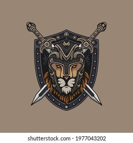 Lion head warrior with shield and swords