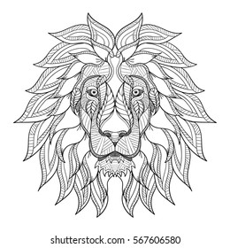 Lion head zentangle, doodle stylized, vector, illustration, freehand pencil, hand drawn, pattern. Zen art. Black and white illustration on white background. Line art.