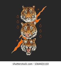 Lion heads. Typography graphic print, fashion drawing for t-shirts