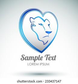 Lion heart icon design - Lion head and love heart emblem