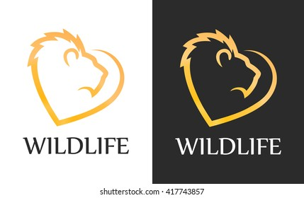 Lion with Heart Shape. Symbol of Love to Wild Nature. Vector Logo isolated on white and black background.