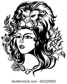 Lion helmet with beautiful girl tattoo.Neo Traditional Tattoo style ,the girl in the mask of a lion and flower, Native American Girl with lion helmet Line art old school tattoo.