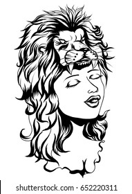 Lion helmet with beautiful girl tattoo.Neo Traditional Tattoo style ,the girl in the mask of a lion and flower, Native American Girl with lion helmet Lineart old school tattoo.