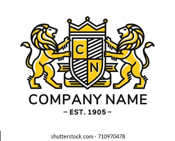 Lion heraldry emblem modern line style with a shield and crown - vector illustration, logo design on white background