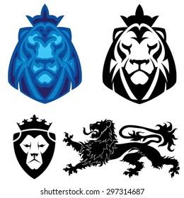 Lion heraldry head logo