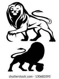 lion holding a ball - vector illustration - black and white outline and silhouette