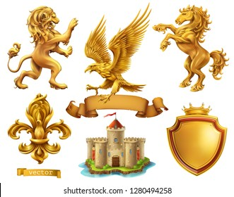 Lion, horse, eagle, lily. Golden heraldic elements. 3d vector icon set