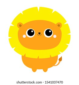 Lion icon. Cute cartoon funny character. Flat design. Vector illustration