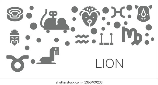 lion icon set. 11 filled lion icons.  Simple modern icons about  - Animal, Mouse toy, Chinese, Aquarius, Taurus, Trapeze, Hedgehog, Sea lion, Pisces, Virgo, Rhino