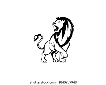 Lion Icon Vector illustration. angry Lion king symbol. Lion roaring, standing, Panthera Leo sign, emblem isolated on white background, Flat style for graphic and web design, logo, tattoo. EPS10 black