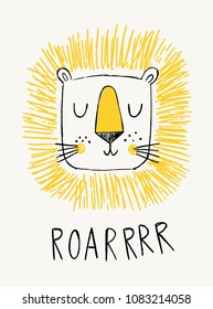 Lion illustration with hand-drawn lettering roar. Cute vector illustration. Design for birthday invitation or baby shower, card, poster, clothing, nursery wall art.