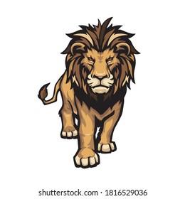 Lion illustration walking forward isolated