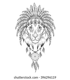 Lion in the Indian roach. Indian feather headdress of eagle. Hand draw vector  illustration