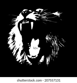 Lion, isolated on black background. The King of beasts, biggest cat of the world. Most dangerous predator with open chaps. Great for user pic, icon, label or tattoo. Black and white vector image.
