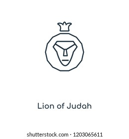 Lion of Judah concept line icon. Linear Lion of Judah concept outline symbol design. This simple element illustration can be used for web and mobile UI/UX.
