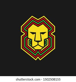 Lion of judah. geometric lion head. stay high face. Reggae music vector
