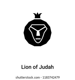 Lion of Judah icon vector isolated on white background, logo concept of Lion of Judah sign on transparent background, filled black symbol