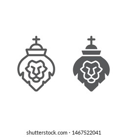 Lion of judah line and glyph icon, religion and animal, lion head sign, vector graphics, a linear pattern on a white background, eps 10.
