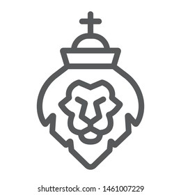 Lion of judah line icon, religion and animal, lion head sign, vector graphics, a linear pattern on a white background, eps 10.