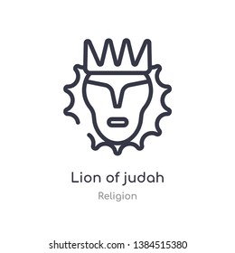 lion of judah outline icon. isolated line vector illustration from religion collection. editable thin stroke lion of judah icon on white background