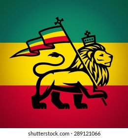 lion of judah with a rastafari flag. Lion of Zion illustration. Reggae music vector design