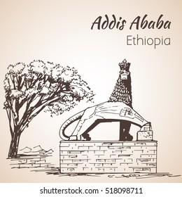 Lion of Judah statue - Addis ababa. Sketch. Isolated on white background