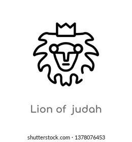 lion of  judah vector line icon. Simple element illustration. lion of  judah outline icon from religion-2 concept. Can be used for web and mobile