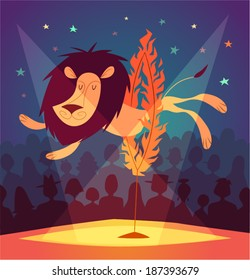 Lion jumping circus show. Vector illustration.