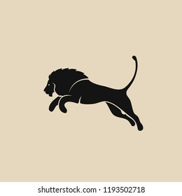 Lion jumping - isolated vector illustration