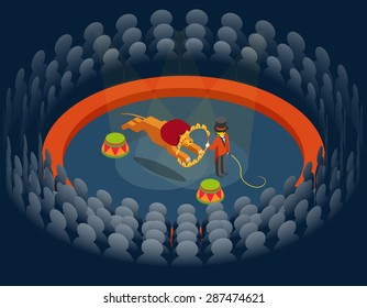 Lion jumping through ring. Circus show. Isometric 3d. Animal and fire, wild and beast, entertainment on arena. Vector illustration