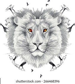 Lion king of beasts in the jungle. Creative watercolor illustration