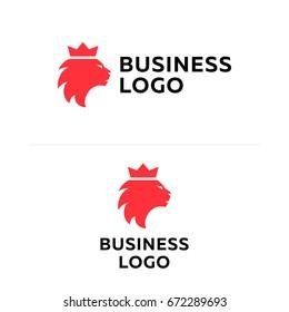 Lion king business flat logotype