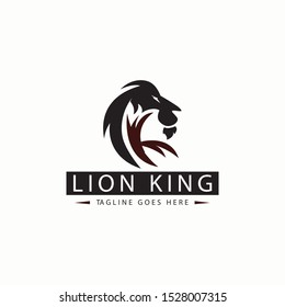 Lion king logo design template. Letter K logo. Vector illustration