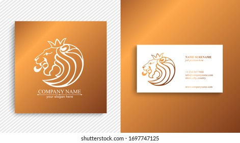 Lion king logo. Lion head with crown - vector illustration, logo design. Universal corporate symbol. Premium heraldic badge