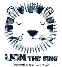 lion the king, T-shirt design vector illustration