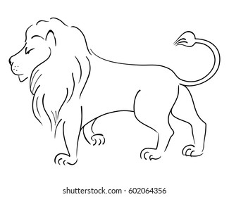 Lion king. Vector drawing isolated on a white background.