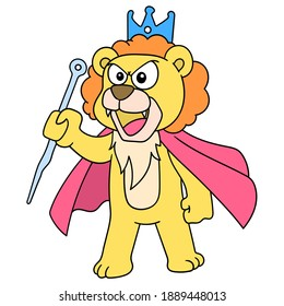 The lion king wearing a crown was making an angry speech, character cute doodle draw. vector illustration