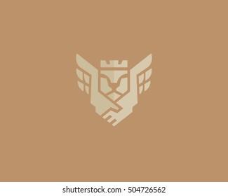 Lion king wings vector logotype. Handshake crown luxury logo design. Premium business symbol.