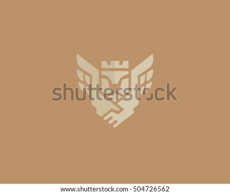 Lion King Wings Vector Logotype Handshake Stock Vector Royalty Free