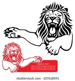 Lion label - vector illustration