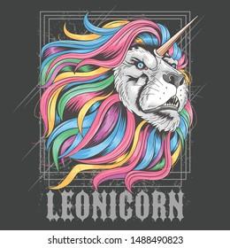 LION LEO RAINBOW HAIR UNICORN ARTWORK VECTOR