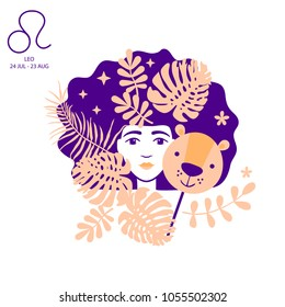 Lion to Leo of zodiac and horoscope concept, vector art and illustration. Girl. Beautiful girl silhouette. Astrological sign as a beautiful women. Future telling, horoscope, alchemy, spirituality
