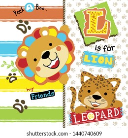 Lion and leopard cartoon learn to read
