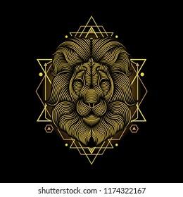 Lion line art illustration. Usable as t shirt design, poster, logo, element design, etc.
