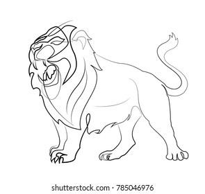 Lion. Line art. Modern Vector illustration.