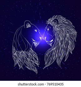 Lion and Lioness nosing on the cosmic background. Zen vector illustration
