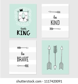 Lion Little King, be brave, be kind, tribal arrows vector illustrations. Set of cute designs for posters for baby room, greeting card, baby shower invitation.
