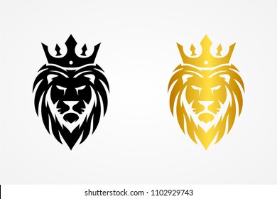Lion logo. Bushy leo face with crown. Black and gold color sign. Royal cat icon. Vector illustration.